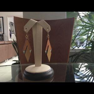 Walnut wood Art Deco earrings